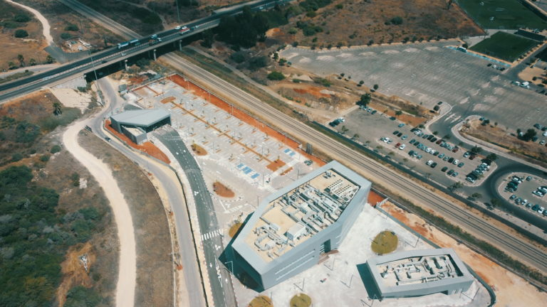 Tel Aviv Bahnhof in Arbeit - Vogelperpektive