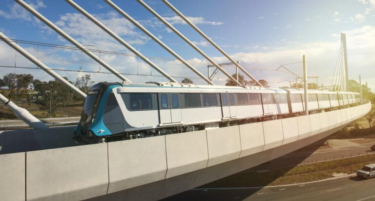Animiertes Titelbild: Zug in Fahrt über eine Brücke